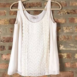 LOFT Shell Lined Ivory Lace Floral Shell Camisole